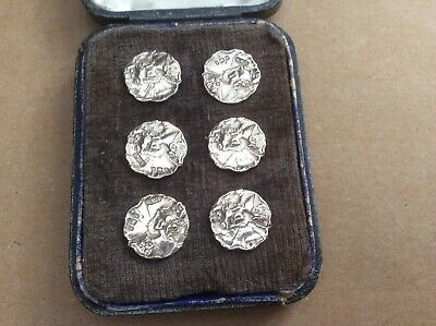 Set Of 6 Silver Buttons, Art Neuveau, Birmingham 1901-02