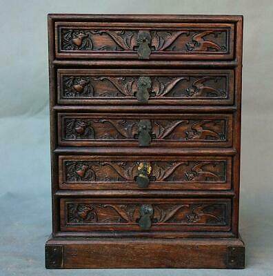 "11.6"" Old Chinese Dynasty Huanghuali Wood Bat Peach 5 Drawer chests of drawers"