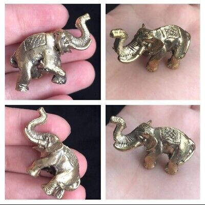 wVery Antique Wonderfull Small Elphant Gold Gilding Amulet Statue