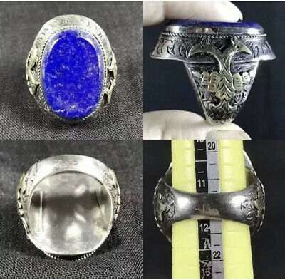Vintage Two Bird & Lapis Lazuli stone sliver wonderful Craved Ring