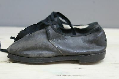 Pair Vintage Hand Made Black Leather Childrens Shoes