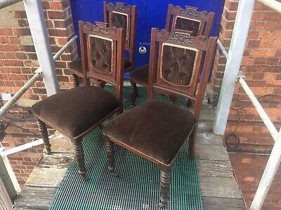antique dining chairs 4,Edwardian clean Plush Upholstery.victorian