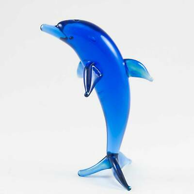 Glass Dolphin Figurine Hand Blown Glass Fish Collectible Figure