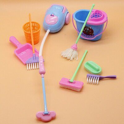 1Set 9pcs Mini Doll Accessories Household Cleaning Tool for Barbie Dollhouse 1/6