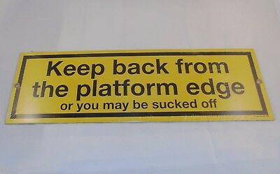 """NOS Vintage Ande Rooney Porcelain Sign """"Keep Back From The Edge"""" NYC Subway Nice"""