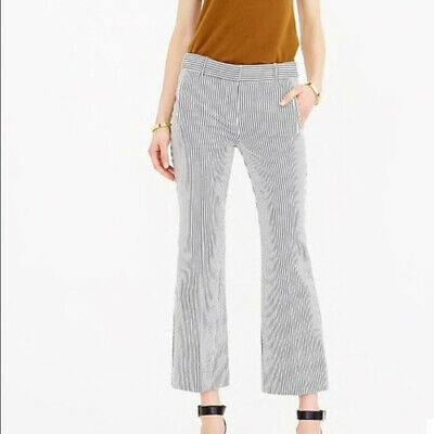 J Crew Teddie Pant in Seersucker size 4 black and white cropped