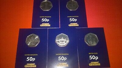 Change Checker Isle Of Man Sapphire Coronation Set Of 5 X 50 Pence Coins 2018