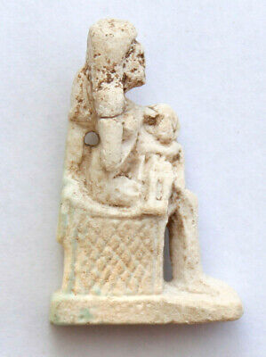 Greco Roman Faience Figure  Isis  seating and Harpokrates on her hands 1-2 CE