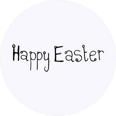 Circular 45mm favour stickers 24 Personalised Happy Easter stickers ANY NAME