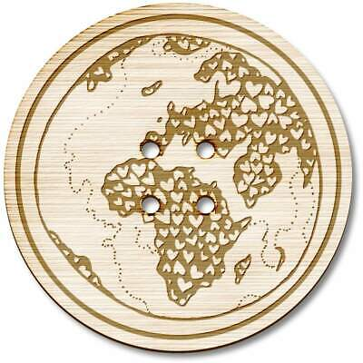 BT00015094 8 x 23mm /'Love Earth/' Round Wooden Buttons