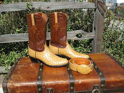 LUCCHESE OSTRICH Saddle Tan COWBOY BOOTS - 11 B