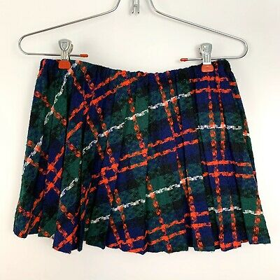 VINTAGE 1960's GIRLTOWN Pleated Green Black Red Plaid Skirt