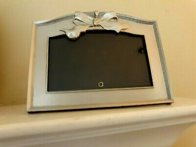 Vintage Elegant Pewter Bow Topped Easel Back w/ Attached Ribbon Picture Frame