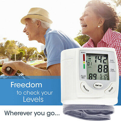 Automatic Wrist Blood Pressure Monitor BP Cuff Heart Rate Tester Meter for Adult
