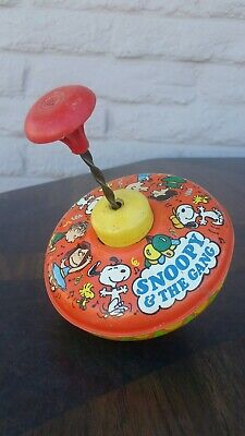 Vtg Antique Ohio Art Retro Snoopy and the Peanuts Gang Metal Spinning Top Toy