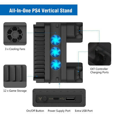 For PS4 Slim Pro Vertical Stand Cooling Fan Controller Charging Dock Station