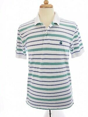 Brooks Brothers Mens Chambray Blue Striped Slim Fit Polo Shirt Large L 3711-3