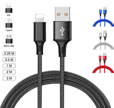 Strong Braided Charger Cable For iPhone Type C Micro USB Data Sync Charging Cord