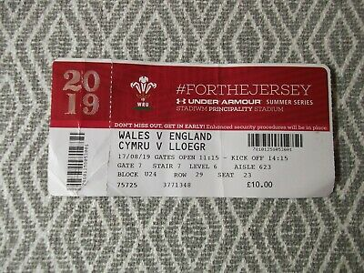 WELSHrugby union,ONE TICKET,USED,WALES V ENGLAND 17 AUGUST 2019 ,(1)