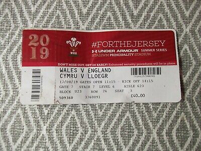 WELSHrugby union,ONE TICKET,USED,WALES V ENGLAND 17 AUGUST 2019 ,(3)