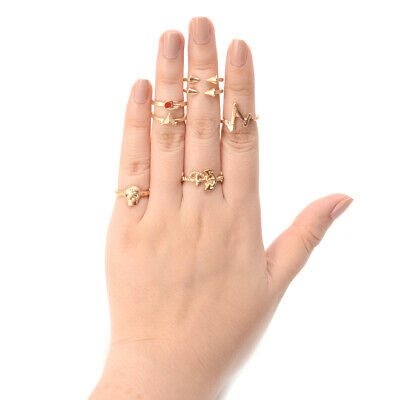 7PCS Women Gold Boho Stack Plain Above Knuckle Ring Midi Finger Tip Rings Set