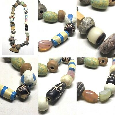 Wonderful Old 36 Ancient Sassanian Mix Shape Beads With Jasper Pendant Necklace