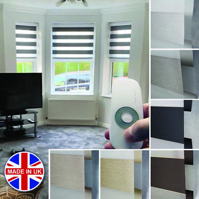 Premium Made to Measure Day and Night Vision/Zebra Window Motorised Dimout Blind