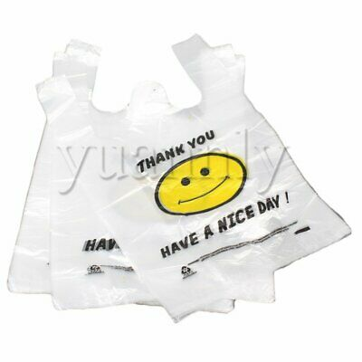 100x Middle High-Density Singlet Grocery Shopping Carry Bags 26x40cm White