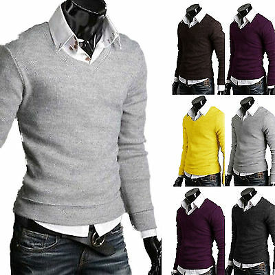 Men's V Neck Long Sleeve Pullover Jumper Sweater Shirt Casual Jersey Blouse Tops