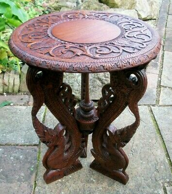 Large Antique Beautifully Carved  Burmese  Side Table