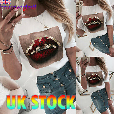 Womens Long Sleeve Sequins Lips T-Shirt Tops Ladies Casual Blouse Pullover Tee