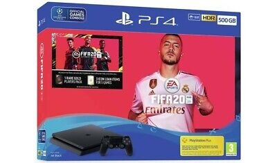 Sony PlayStation 4 500GB Jet Black Console with FIFA 20 Bundle PS4