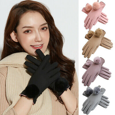 LADIES WOMEN GLOVES LUXURY QUALITY SOFT LEATHER Plush WINTER DRIVING WARM GLOVES