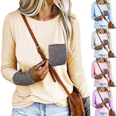 Women's Autumn Long Sleeve Cotton Pullover Blouse Casual Pocket Tops T Shirt US