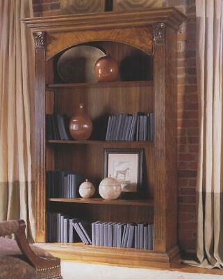 Large Walnut Bookcase with Fluted Columns Antique Reproduction H213 W142 D48cm
