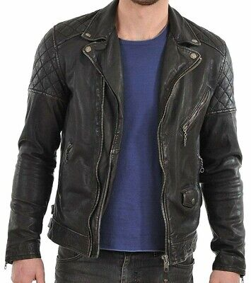Quilted New Style Biker Leather Jacket Slim Fit Classic Stylish Look For Men Boy