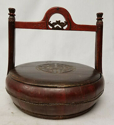 Antique Chinese Shou Decorated Lacquer Wooden Wedding Basket Bats Wufu