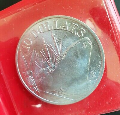 1976 Singapore 10 dollars Silver Coin (10th Anniversary Independence) Ship..