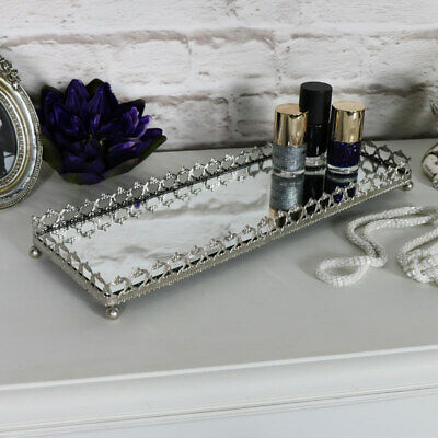 Large silver mirrored tray plate candle perfume bottle vintage wedding display