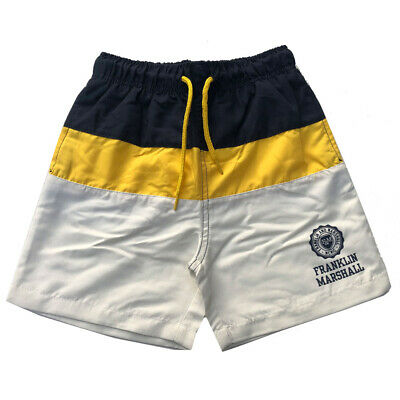 Franklin & Marshall Boys Swimming Shorts Navy/Yellow/Off-White Ages 6Y-15Y