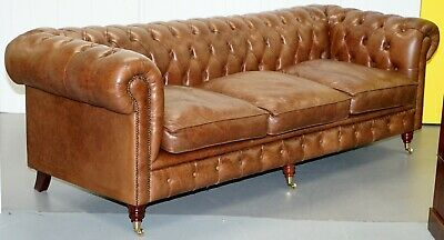 Chesterfield Tufted Heritage Brown Leather 3-4 Seater Sofa Part Of A Large Suite