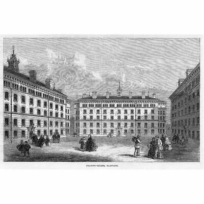 City Garden-Row LONDON antique print 1866 Darwin Buildings City-Road