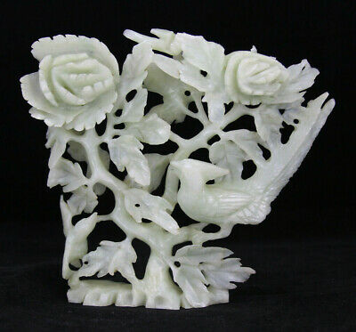 Vintage Large Chinese JADE Sculpture of Carved Magpie Birds & Lucky Flowers