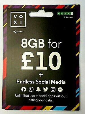 NEW VOXI SIM Card Endless Social Media & Unlimited Calls and Texts with 6GB £10
