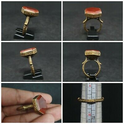 Gold Gilded Old Ring With Beautiful Islamic Yemani Red Agate Stone #D2