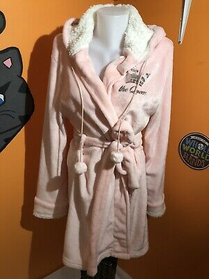 BOBBIE BROOKS SOFT TERRY CLOTH PINK TIE UP HOODED ROBE-SUPER SOFT SIze S/M