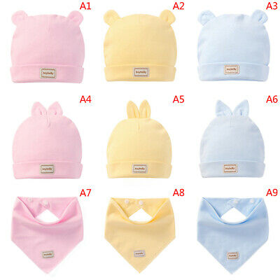 Newborn baby infant cotton caps&hats baby bibs 3 color for 0-3 months baby~JP