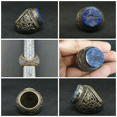 Huge Old Sliver Plated Ring With Intaglio Bird Lapis Lazuli Stone #G2