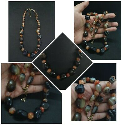 Beautiful Old Banded And Red Agate Stone Unique Design Necklace #Q44