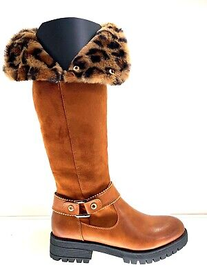 Ladies Womens Camel Leather Faux Knee High Low Heel Winter Fur Boots Size 8
